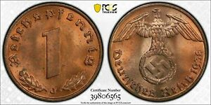 Rare Old WWII German War Coin 1938-J Germany Pfennig PCGS MS64 RB