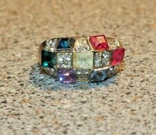 Pink Purple Red Bling Fashion Dome Ring Gold plated Green