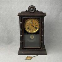Antique Ingraham Parlor Kitchen Mantel Clock Oak Case - For Parts or Repair