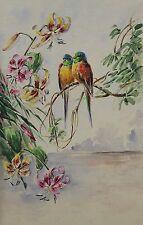Oiseaux perchés ravissante aquarelle vers 1900 époque art nouveau bird Vogel