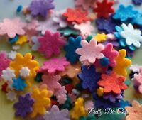 Mixed Size Mini Felt Flowers (35), die cut Floral Craft Embellishments