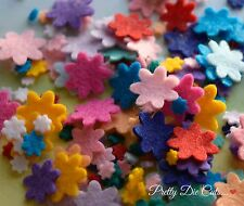 Mixed Size Mini Felt Flowers (35), die cut Floral Craft Embellishments