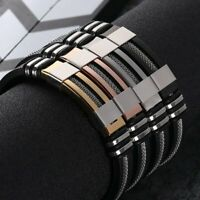 Fashion Mens Stainless Steel Silicon Bracelet Wristband Cuff Bangle Jewellery