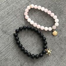 Dogeared @ ASOS Pink & Black Beaded Stone Skull & Shell Charm Bracelet