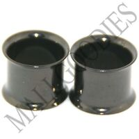 "0225 Black Double Flare Flesh Tunnels Earlets Saddle Gauges 7/16"" Ear Plugs 11mm"