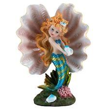 "Blue Mermaid Girl In Clam Shell Holding Seashell Figurine 6.75"" High New In Box!"