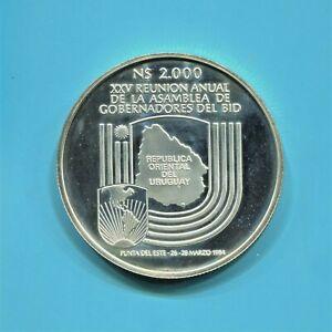 URUGUAY - FANTASTIC RARE 25TH .BID MEETINNG SILVER 2000 NUEVOS PESOS 1984