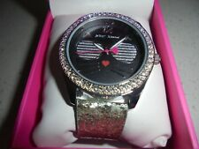WOMENS BETSEY JOHNSON SILVER/BLACK CAT IN SUNGLASSES BLINGED WATCH - NIB
