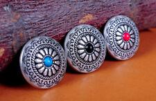 3X Turquoise Bohemian Flower Silver Western Leathercraft Saddles Conchos Set