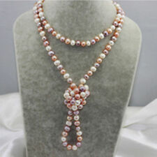 BEAUTIFUL!64 INCH 8-9MM WHITE PINK PURPLE AKOYA PEARL NECKLACE AAA