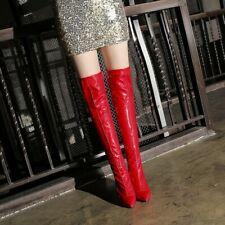 Ladies Stiletto Heel Over Knee Boots Slim Sexy Nightclub Party Show Zipper Shoes