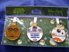 Disney STAR WARS - C3P0 R2D2 BB-8 * Holiday Ornament Style New in Pack 3 Pin Set