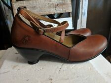 Fly London sz 40 Ankle Strap Brown  Leather Mary Jane pumps cute!