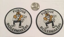 """(2)-PU Purdue Boilermakers Vintage Embroidered Iron On Patches (NOS) 3"""" x 3"""""""