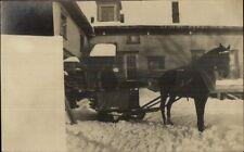 Horse Drawn Sleigh & Home c1910 Real Photo Postcard