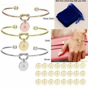 Personalised Initial Alphabet Letter Knot Bracelet Bridesmaid Bracelet +Gift Bag