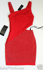 NWT bebe top red silver stud side cutout dress one strap clubbing XS 0 2 sparkle