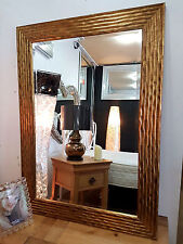 Large Antique Gold Wave Design Mirror Wood Frame Bevelled Glass79x110cm New
