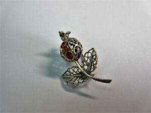 Vintage SOLID SILVER & GEM SET 'Flower' DESIGN BROOCH, PIN - Filigree!