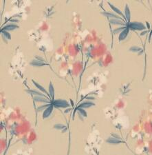 Wallpaper Designer Navy Cream Coral Yellow Watercolor Floral on Cream Faux