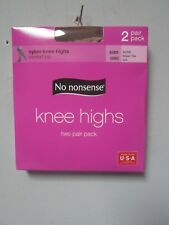 No Nonsense 2-Pair Pack Nylon Knee Highs Sheer Toe Nude Pantyhose ONE SIZE