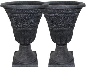 Urn Pack 16 in. Resin Weather-Resistant in Weathered Black with Base (2-Pack)
