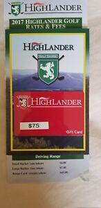 HighLander GOLF COURSE gift card $75