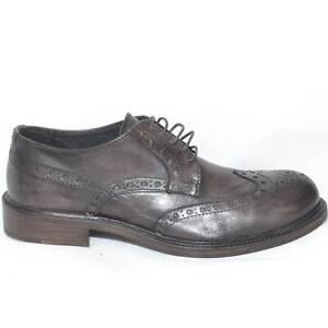 scarpe stringate inglese vera pelle fondo cuoio antiscivolo testa di moro spazzo