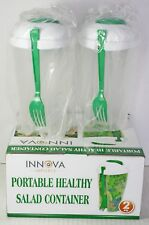 Innova Portable Salad Container Fork Dressing Attachment BPA Free Lunch Set of 2