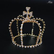 Small Cross Crown Gold Mini Tiara Rhinestone Pageant Prom Party Costumes US-Ship