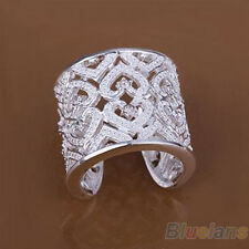 Women's Beauty Cutout Love Heart Silver Plated Rhinestone Wide Band Open Ring