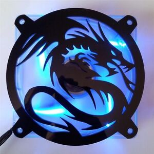Custom 80mm FLYING DRAGON Computer Fan Grill Gloss Black Acrylic Cooling Cover