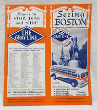 Vintage Seeing Boston The Gray Line Brochure Map Advertising