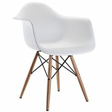 white modern eiffel abs shell pyramid dining arm chair with wood dowel legs
