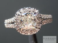 .75ct J VS1 Cushion Cut GIA Split Shank Halo Ring R5093 Diamonds by Lauren