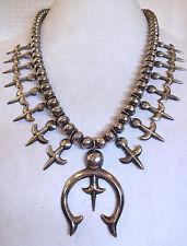 Vintage NAVAJO SterlingSilver Single Strand SQUASH BLOSSOM Necklace FLEUR de LIS