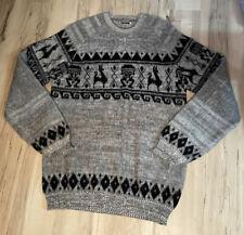 Alpaca Print Hand Made in Ecuador Gray Otavalo Sweater Men's Small