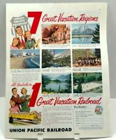 1950's Union Pacific Railroad Great Vacation Paper Print Magazine Ad T48T