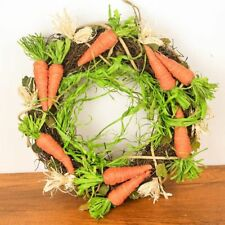 "Wreath Rattan Easter Carrot 11.8"" Handmade Hangings Garland For Door Decoration"