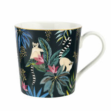 Sara Miller Tahiti Mug, Lemur Jungle Animals Gold Decorative Tea Coffee Cup