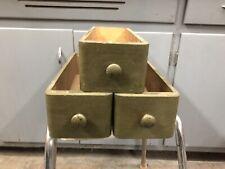 3 ANTIQUE SINGER TREADLE SEWING MACHINE OAK DRAWERS Wood PULLS Painted Free Ship
