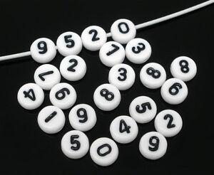 New: 500 Weiß Acryl Zahlen Spacer Perlen Beads Flach Scheiben 7mm