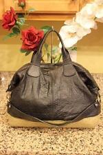 Aleanto Collezioni Black Leather Tan Ostrich Pattern Satchel Bag (pu800
