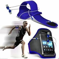 Blue✔Quality Sports Armband Gym Running Phone Case Cover+In Ear Headphones