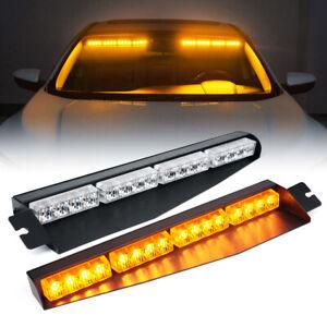 Pair LED Windshield Visor Strobe Light Bar Flash Emergency Warning Hazard Yellow