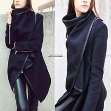 Donna LANA cerniera Cappotto Lungo Inverno trincea Blazer abito giacca Outwear