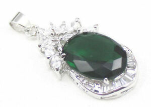 Green Cubic Zirconia & Crystal Flower White Gold Plated Women Pendant Necklace