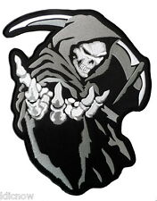 "GRIM REAPER (GREY) BACK PATCH 26CM x 33CM (10 1/4"" x 13 1/2"") Sew on"