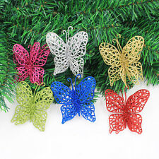 12Pcs 7cm Christmas Tree Decor Glitter Hollow Butterfly Flower Red Gold Silver
