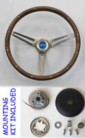 "1968 Camaro GRANT Wood Steering Wheel blue bowtie cap 15"" walnut"